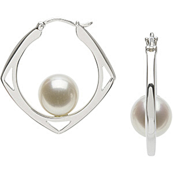Sterling Silver Floating Freshwater Pearl Earrings