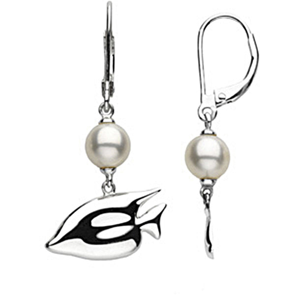 Sterling Silver Freshwater Pearl Sunfish Earrings