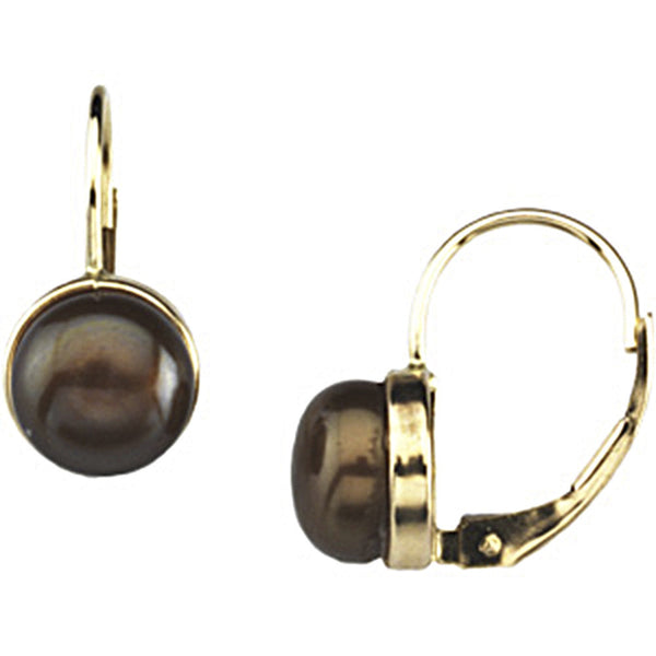14kt Yellow Gold Freshwater Chocolate Pearl  Leverback Earrings