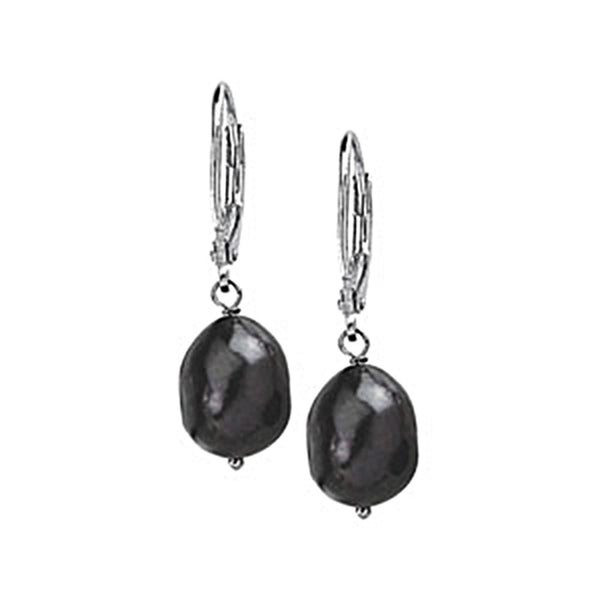 Sterling Silver Freshwater Black Baroque Pearl Dangle Earrings