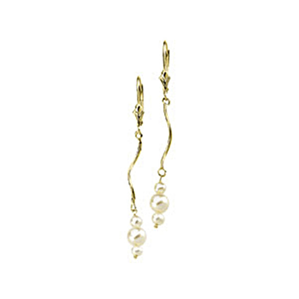 14kt Yellow Gold Triple Spiral Freshwater White Pearl Drop Earrings