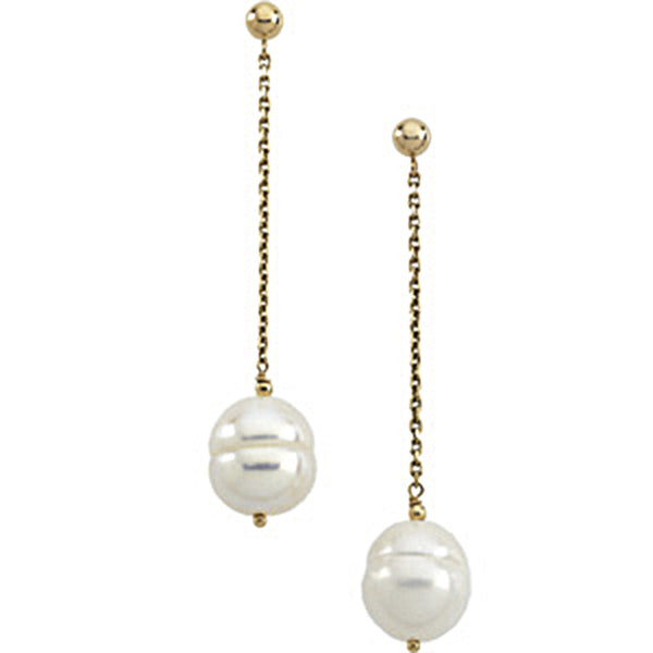 14kt Yellow Gold Freshwater Pearl Circle Chain Drop Earrings