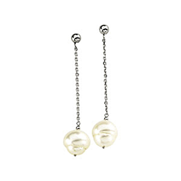 14kt White Gold Freshwater Pearl Circle Chain Drop Earrings