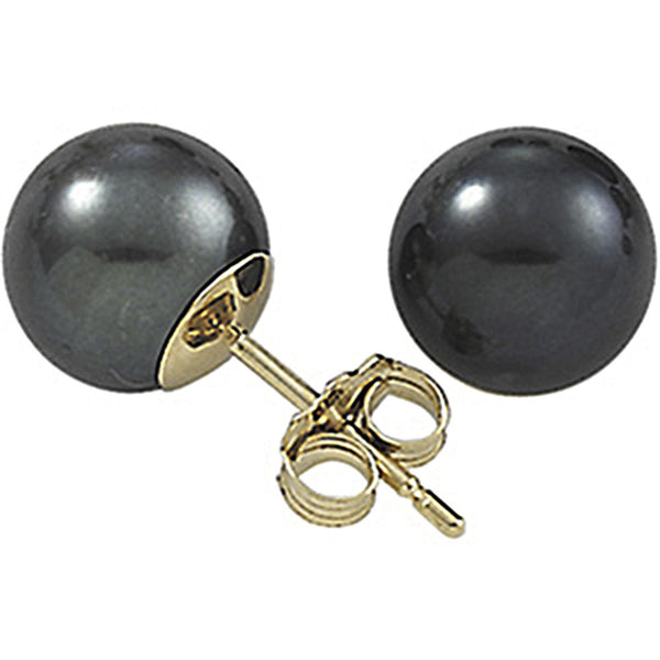 14kt Yellow Gold 5mm Black Freshwater Pearl Stud Earrings