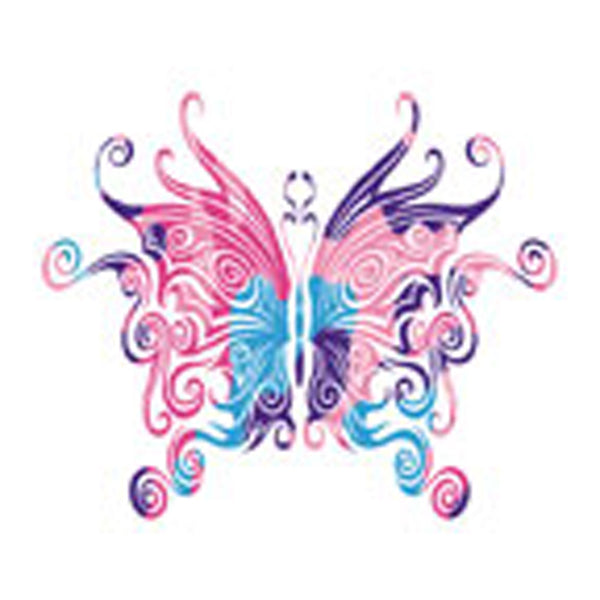 CURLY MULTI BUTTERFLY Temporary Tattoo 2x2