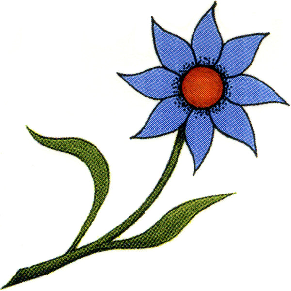 Blue Flower Temporary Tattoo 2x2