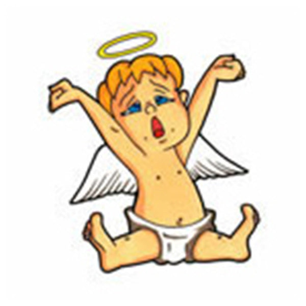 Yawning Baby Angel Temporary Tattoo 2x2