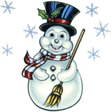Snowman and Snowflakes Temporary Tattoo 2x2