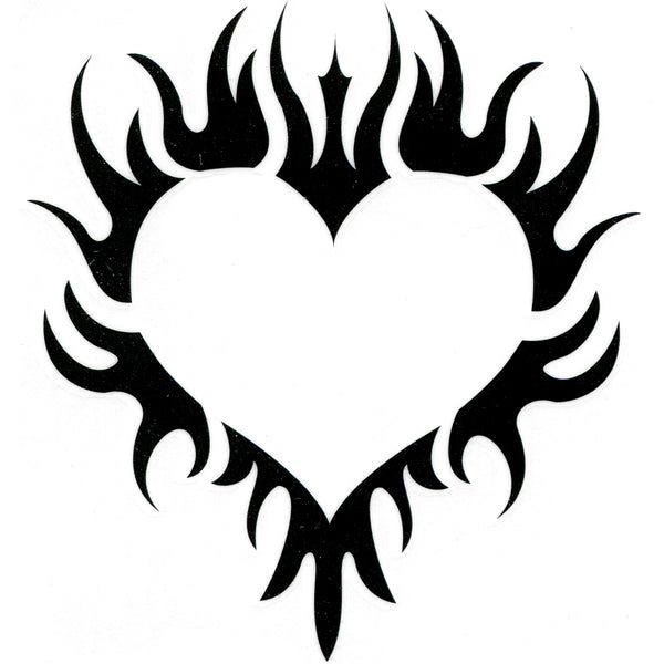 TRIBAL FLAMING HEART Temporary Tattoo 2x2