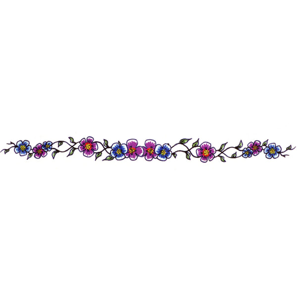 Purple Flower Arm Band Temporary Tattoo 1x6.5