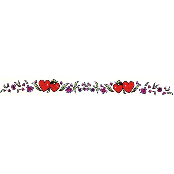 Hearts Flower Arm Band Temporary Tattoo 1x6.5