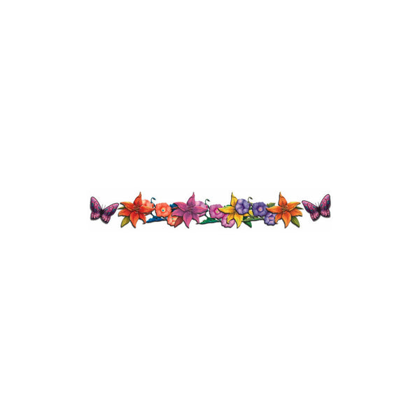 Butterfly Flowers Arm Band Temporary Tattoo 1x6