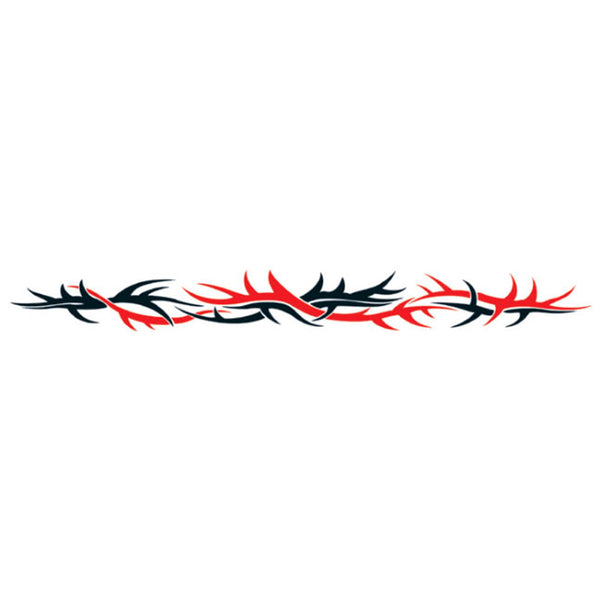 TRIBAL DUAL THORNS Red Black Arm Band Temporary Tattoo 1.5x9