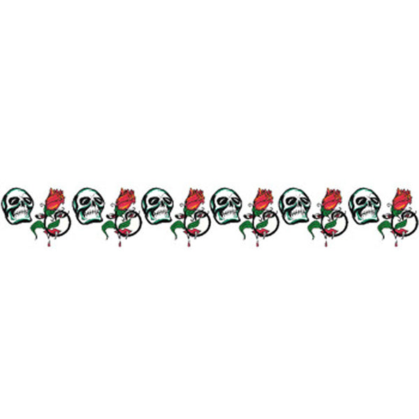 SKULL and RED ROSE Arm Band Temporary Tattoo 1.5x9