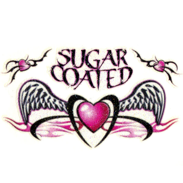 Sugar Coated Tribal Heart Glitter Temporary Tattoo 2.5x3.5
