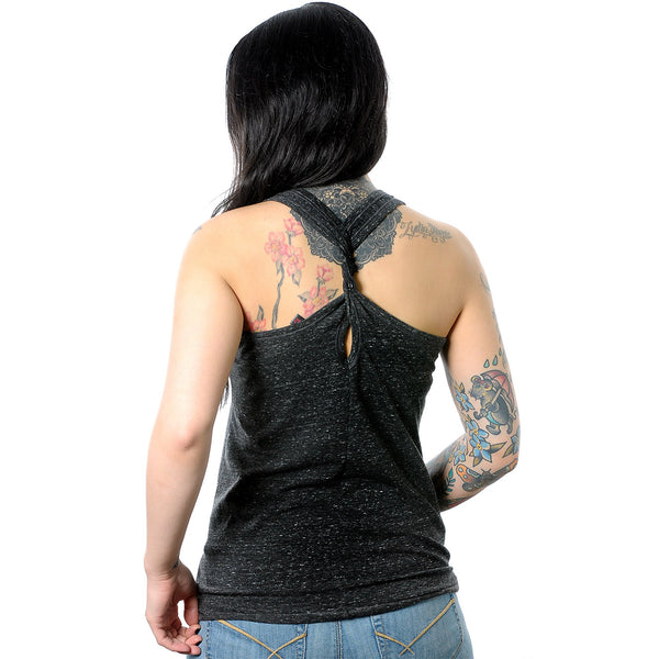 Just Say Yikes and Move On Black Gray Cosmic Twist Back Tank Top