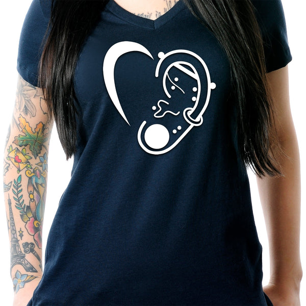 Modified Ear Heart Tapered V-Neck Tee Shirt