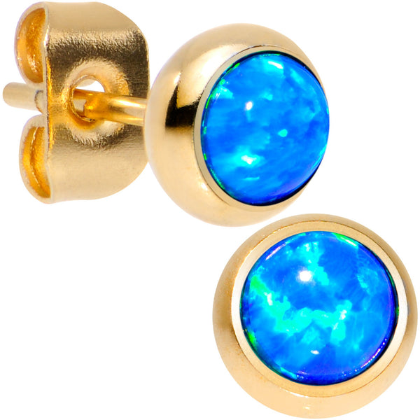 Blue Synthetic Opal Gold IP 316L Surgical Steel Stud Earrings