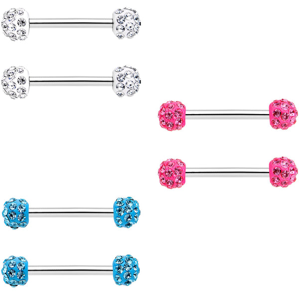 14 Gauge 9/16 All About Fun Barbell Nipple Ring Pack Set of 6
