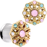 Pink Green White Gem Glam Flower Double Flare Tunnel Plug Set