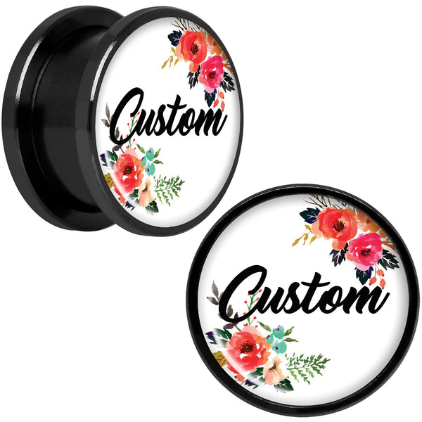 Custom Floral Personalized Name Black Screw Fit Plug Set 5mm to 20mm