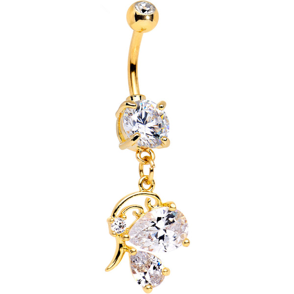 Clear Gem Gold PVD Dreams of Decadence Dangle Belly Ring
