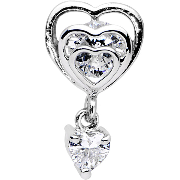 1/4 Clear CZ Gem Triple Heart Dangle Cartilage Tragus Earring