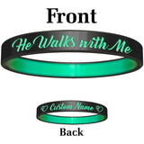Personalized Black Teal He Walks Silicone Religious Message Bracelet