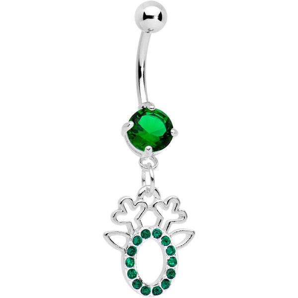 Green Gem Encrusted Christmas Reindeer Dangle Belly Ring
