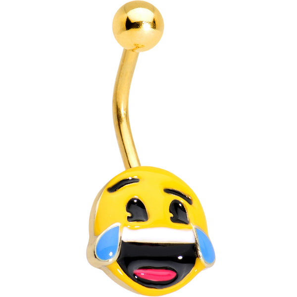 Officially Licensed Laughing emoji Gold Tone Anodized Belly Ring