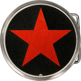 Real Wood Red Star Belt Buckle