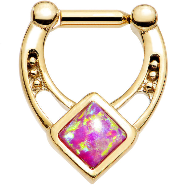 14 Gauge 1/4 Pink Faux Opal Gold Anodized Glamour Septum Clicker