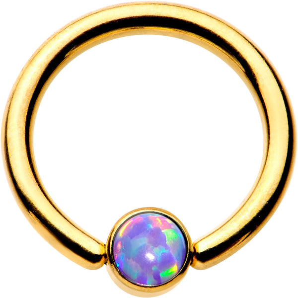 14 Gauge 3/8 Purple 4mm Faux Opal Gold IP Disc BCR Captive Ring