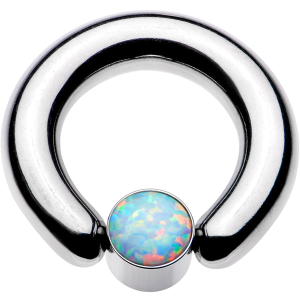 4 Gauge 9/16 White Faux Opal 7mm Disc BCR Captive Ring