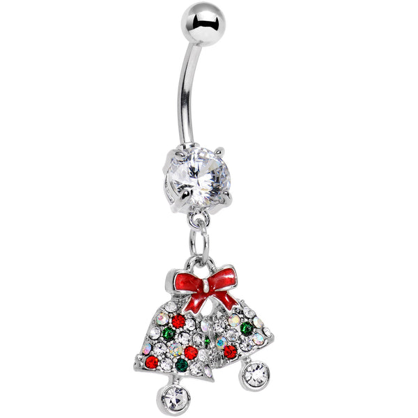 Clear Gem Red Bow Ring Ding Ding Christmas Bells Dangle Belly Ring