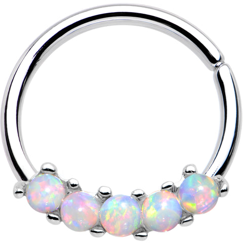 "16 Gauge 3/8"" White Synthetic Opal Annealed Seamless Circular Ring"