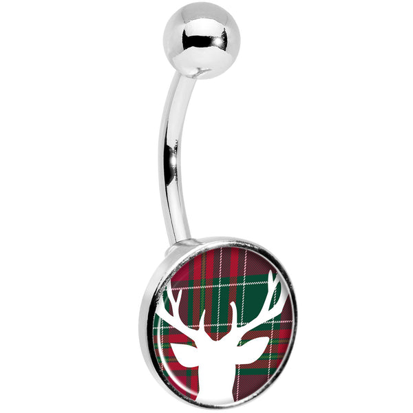 Red Green Plaid Reindeer Belly Ring