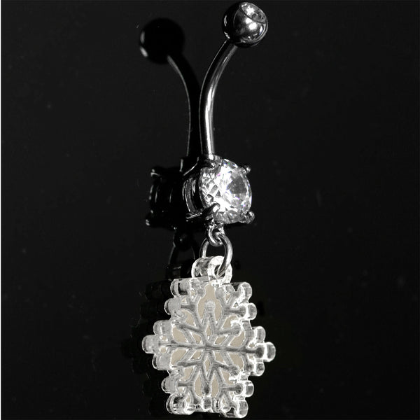 Clear Gem Winter Snowflake Dangle Belly Ring