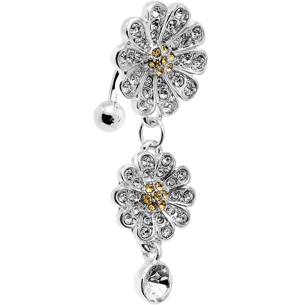 Clear Gem Dazzling Double Daisy Flower Top Mount Dangle Belly Ring