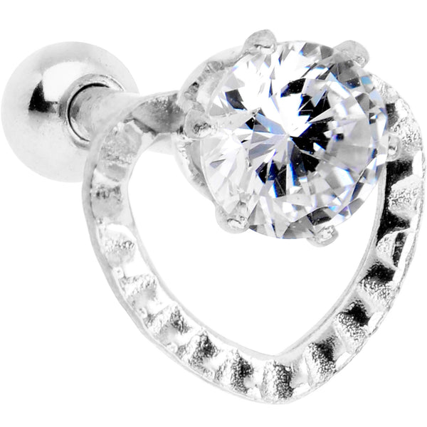 Clear CZ Gem Valentine Heart Cartilage Tragus Piercing