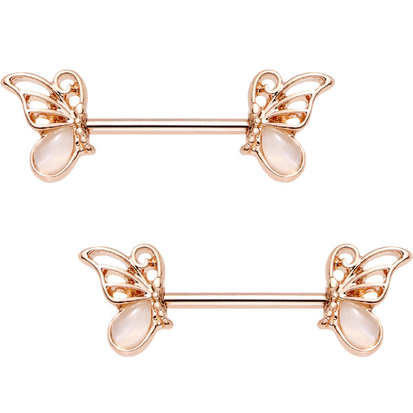 Pink Gem Rose Gold Anodized Butterfly Frame Barbell Nipple Ring Set