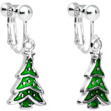 Silver Plated Classic Christmas Tree Dangle Clip On Earrings