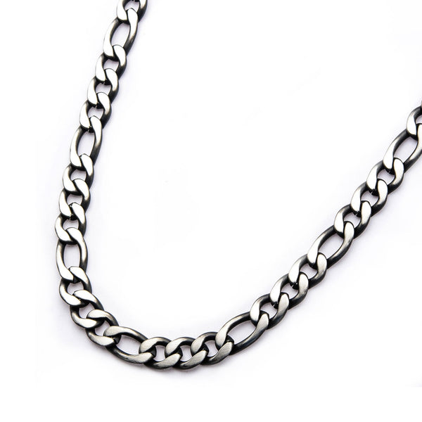 Mens Stainless Steel Black IP 3mm Figaro Chain Necklace