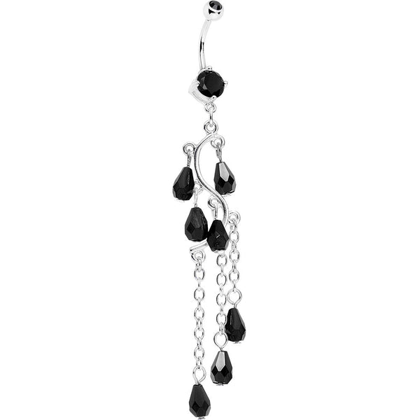 Black Gem Prepare To Stare Sleek Curves Dangle Belly Ring