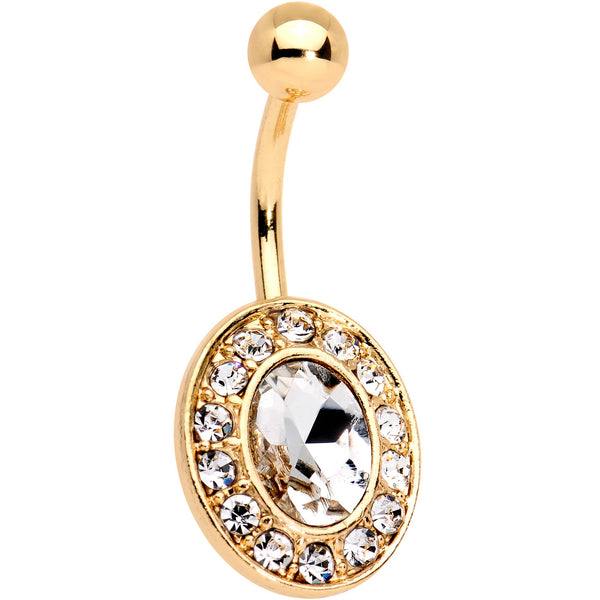 Clear Gem Gold Tone IP Regal Bliss Belly Ring