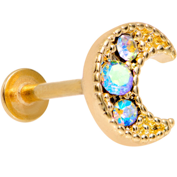 Auora Gem Gold Tone Crescent Moon Cartilage Tragus Earring