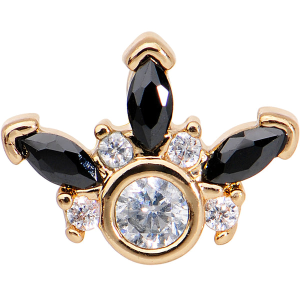 1/4 Clear Black CZ Gem Gold Tone Anodized Cartilage Tragus Earring