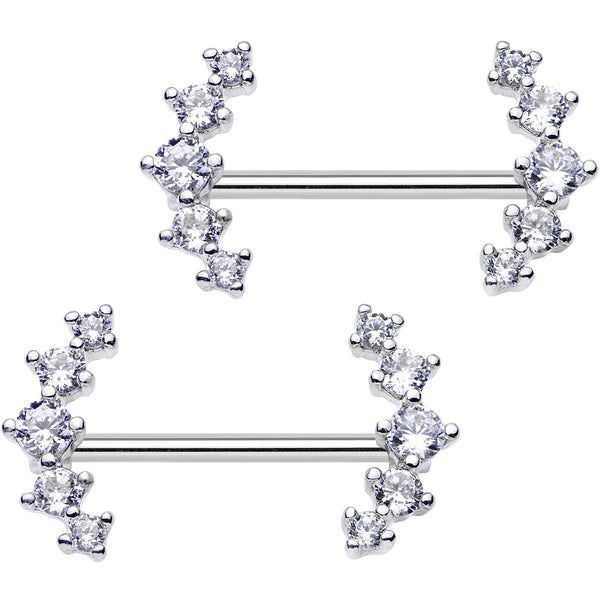 Clear CZ Gem Quintuple Cascade Barbell Nipple Ring Set