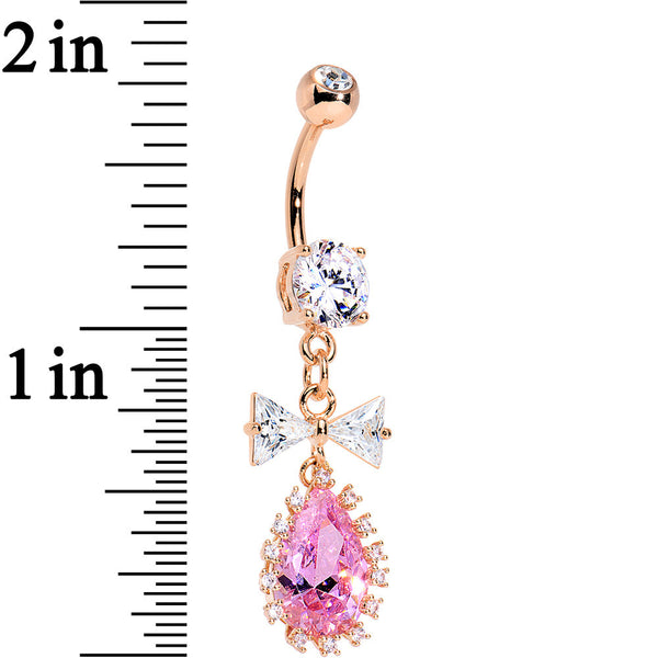 Pink Clear CZ Rose Gold Plated Steel BowTie Teardrop Dangle Belly Ring