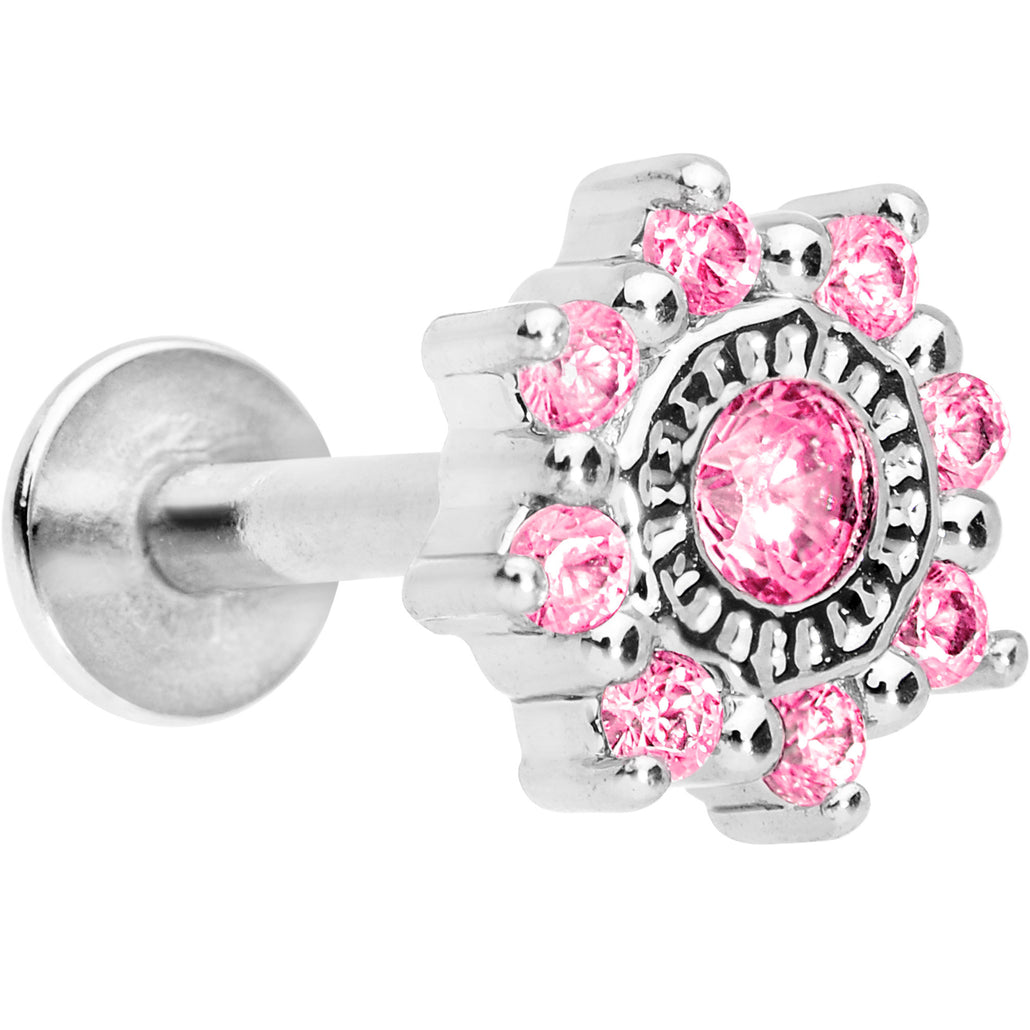 "1/4"" Pink CZ Starflake Cartilage Tragus Earring"
